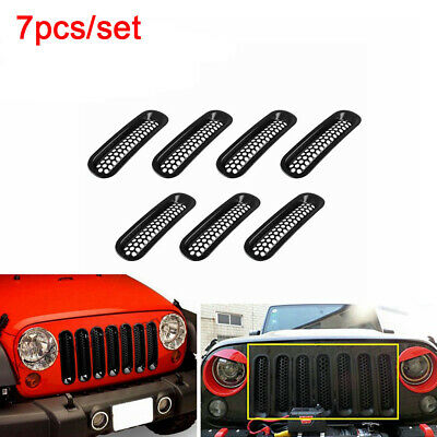 7 Car Clip-in Front Insert Mesh Trim Grille Cover Fit for 07-17 Jeep Wrangler JK