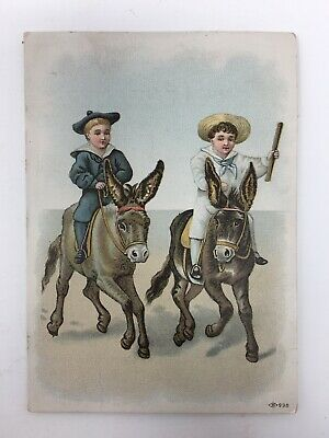 Boys Riding Donkey's Leadbetter Grocer Trade Card Victorian