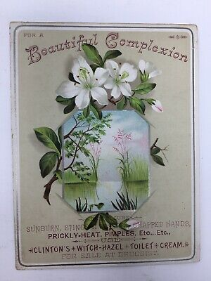 Clinton's Witch Hazel Toilet Cream Victorian Trade Card Quack Medicine Flowers