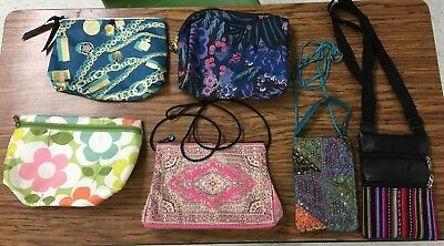 Six ladies bags, day purses and make up bags.