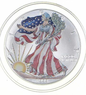 1999 Beautifully Painted/Sticker American Silver Eagle 1 Oz. .999 Fine *851