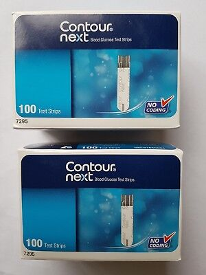 2 Packs of Contour Next Blood Glucose 100 Test Strips  Expiry:  10/2020