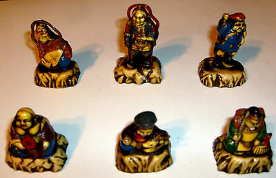 6 Vintage Celluloid Antique Plastic Chinese Oriental Figure Lot Japanese Bhudda