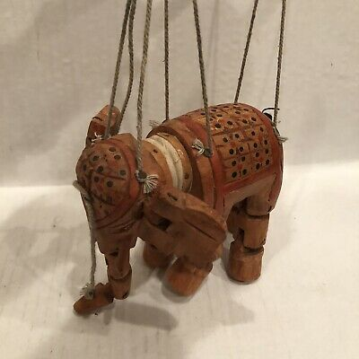 Vintage Marionette Elephant India Carved Wooden Hand painted and Jointed