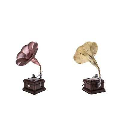 2Pcs Decorative Vintage Antique Gramophone Phonograph Model Collectible