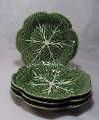 "4 Bordallo Pinheiro Green Cabbage Leaf Salad Plates 9¼""  Majolica Pottery"