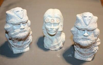 3 Ceramic bust pieces by John Bruce Mountain Men and Indian woman