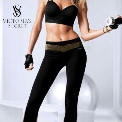 02fe3c5ddd Victoria's Secret VSX Sport Supermodel Pant Black & Gold Yoga Athletic  Leggings
