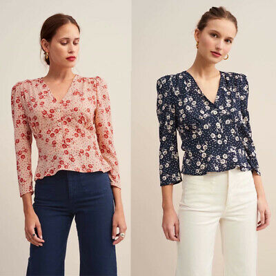 French R Style Women Summer Long Sleeve Floral Shirt Blouse Tops Loose T Shirt