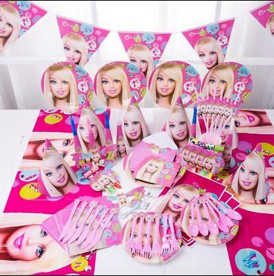 Barbie Party Supplies Tableware & Toys 90pcs for 6 Guest AU STOCK Fast Delivery