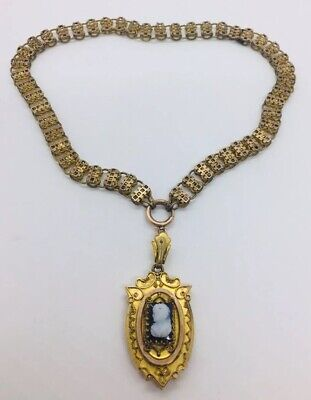 Antique Victorian Yellow Gold Filled Book Chain Hardstone Cameo Locket Necklace
