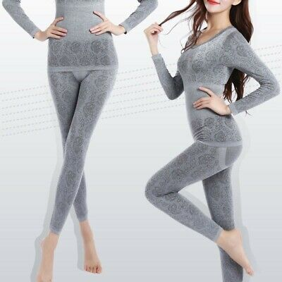 Womens Ladies Winter Warm Underwear Suit Shaping Thermal Tops+Long Pants 2PCS