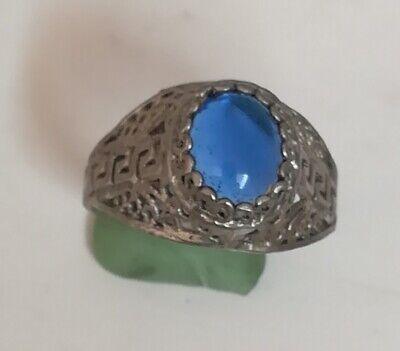 Ancient Rare Stirling Silver Viking Ring With Natural Stone