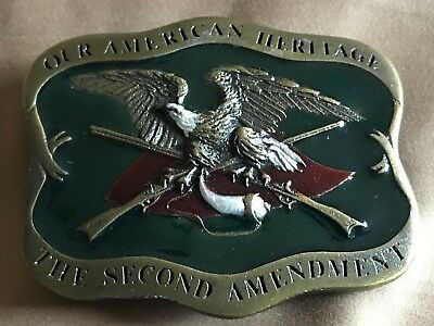 Vintage Belt Buckle - The Second Amendment - Indiana Metal Craft 1977 Made in US