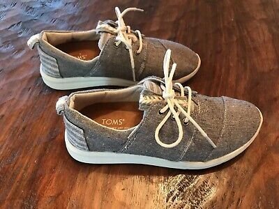 618a8e33d21 Toms Grey Del Rey Blocked Women s Sneakers Chambray Sz W5 Embroidered