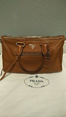 9f1bf7aaea6b PRADA BROWN LEATHER bag pre-owned in good condition with receipt ...