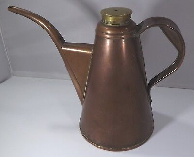 Vintage Copper Oil Jug Can with Brass Lid, Marked 1K