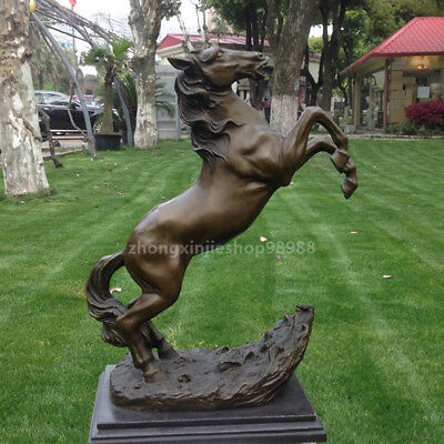 Western Pure Bronze Marble fengshui Stand horse Art Deco Sculpture Statue