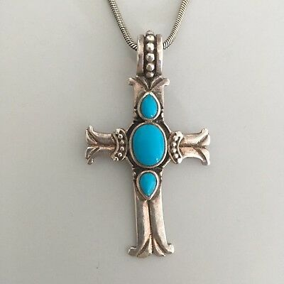 Gorgeous Silver Turquoise CROSS PENDANT  AND CHAIN Boho Vintage 925