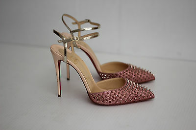 pretty nice 054ad d0688 CHRISTIAN LOUBOUTIN 'BAILA' Glitter Spike Ankle Strap Pump- Poudre Bronze -  38.5