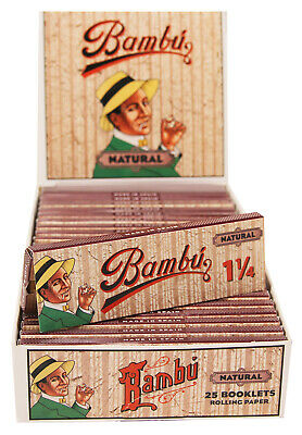 Bambu Natural 1-1/4 (1.25) Size Cigarette Rolling Papers 25pk 33 Leaves per Pack