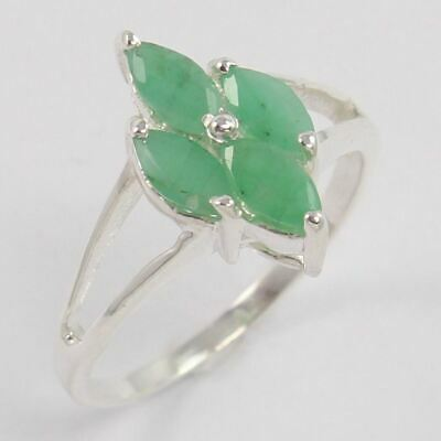 925 Sterling Silver Little Girl's Ring Size US 6 Natural EMERALD Marquise Gems