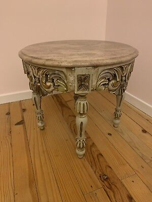 Beautiful French vintage Wood And Marble Side Coffee Table Louis Rococo Shabby
