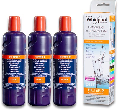 3Pack Whirlpool-Filter 2-EveryDrop-EDR2RXD1-W10413645A-Refrigerator Water Filter