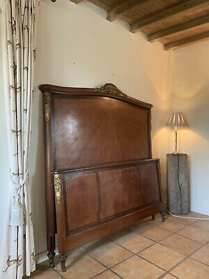 Vintage French Wooden Walnut Louis Double Bed Frame Headboard Inlay Hotel