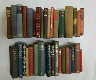 Joblot 35 vintage books bar display shabby chic antique collectable (vin13)