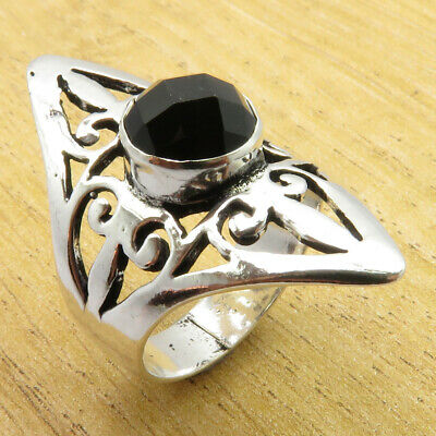 Wedding Jewelry 925 Silver Overlay Black Onyx CELTIC MARQUISE Ring Size 7.75 NEW