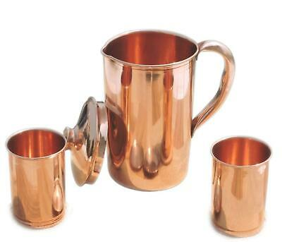 Pure Copper Handmade Jug Water Pitcher 1.5 L & 2 Glasses 300 ml Storage Freeship