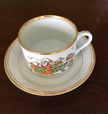 Fitz & Floyd St. Nicholas Gold Trim: Flat Cup and Saucer