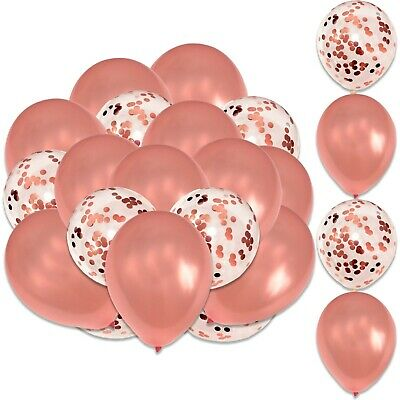 16 Pack Rose Gold & Confetti Latex Helium Balloons Wedding Hen Party Team Bride