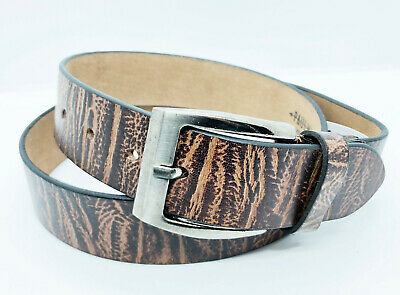 "BROWN FULL GRAIN Buffalo Leather Mens 1.5"" Belt Strap Buckle Casual Jeans"