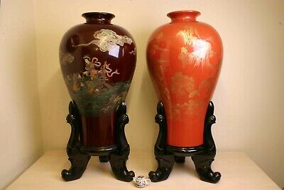 Huge Old Chinese Laquer on Wood Meiping Palace Vases. 126 cm tall ! early 20th C
