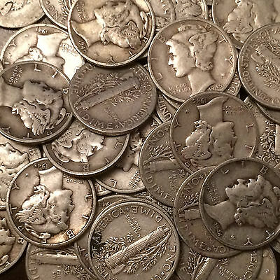 Lot of 50 Coins, 1 Roll Mercury Silver Dimes, $5.00 Face 90% FREE S/H