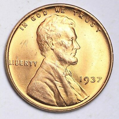 1937 Lincoln Wheat Small Cent GEM BU RED FREE SHIPPING E250 GE
