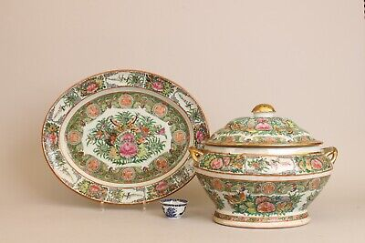 """Extra Large 42cm / 16.2"""" Fam Rose Medallion Canton Tureen  Chinese Export"""