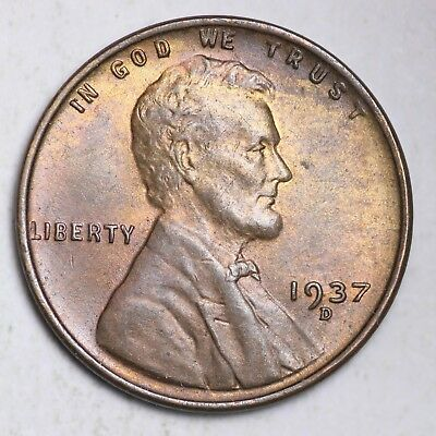 1937-D Lincoln Wheat Small Cent CHOICE BU FREE SHIPPING E230 T