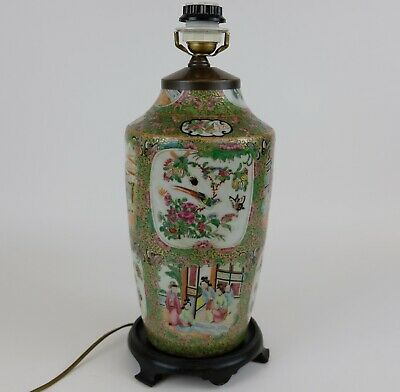 Lovely 20 inch  Lamp Vase Antique Chinese Porcelain Canton Famille Rose, 19th C