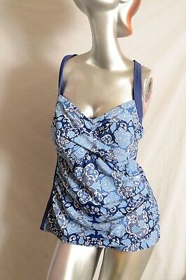 94678be5353eb Seekers Contour Swimwear Plus-Size Navy Print Tankini Shape Control 22W  DD/E NWT