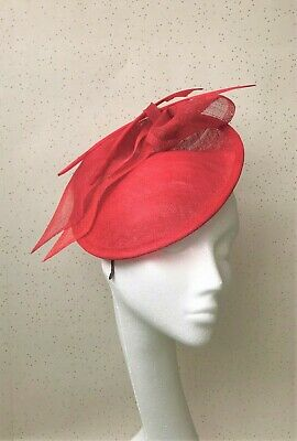 Red Wedding Fascinator Red Disc and Feather Headpiece Mother Bride Ascot Hat
