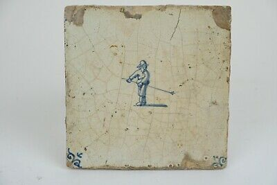 Antique Dutch Delft Tile with Figure, 17th century