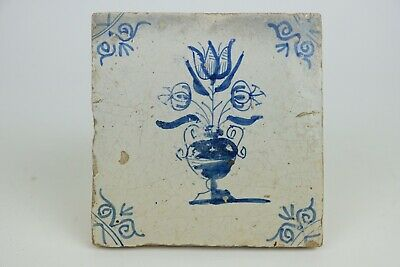 Antique Dutch Delft Tile, Tulip vase, 17th century.