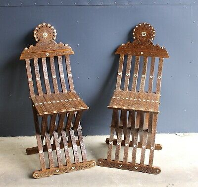 Wonderfull Antique Pair of Fine Carved Islamic Chairs, 19th Century
