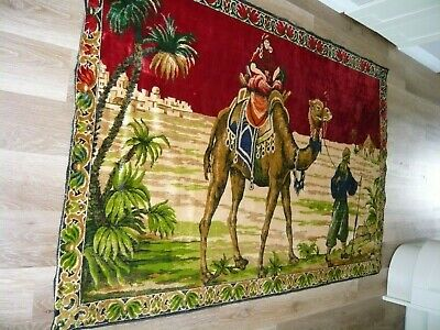 ANTIQUE 117 X173cm 1950s EGYPTIAN CAMEL MIDDLE EAST TAPESTRY WALL HANGING in VGC