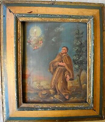 Antique 18th-19th C. Spanish Colonial Painting/ Retablo on board- San Francisco