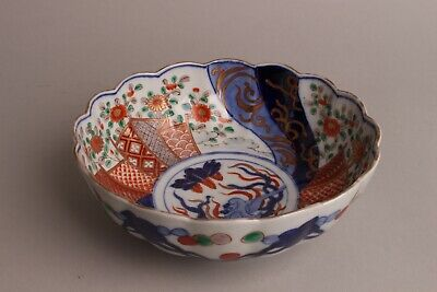 Wonderfull Perfect Japanese Imari scalloped Bowl Meiji Period 19thC Plants