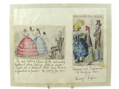 Antique 19th century watercolour painting caricature Victorian Real Life studies